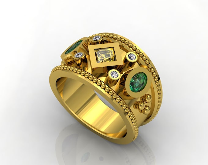 Vintage Style- 18k Yellow Gold Classic Engagement or Wedding Ring with Diamond, Emerald and Yellow Citrine Item # LARFW -00674