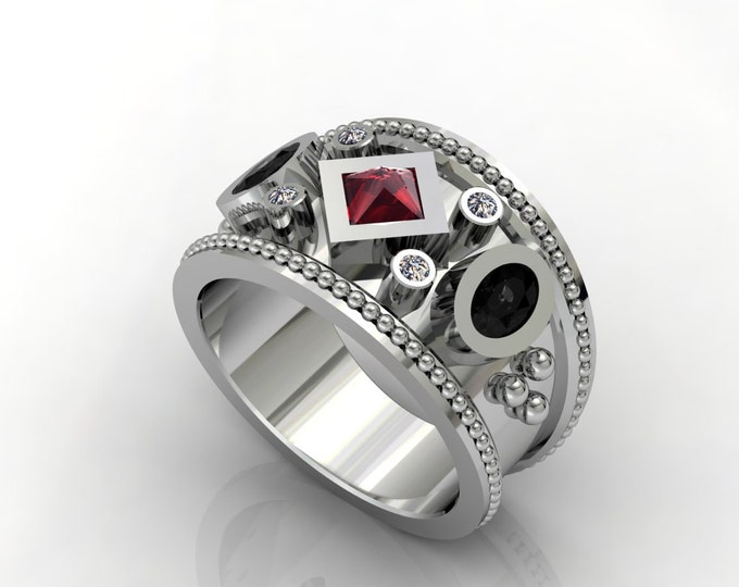 Vintage Style-14k White Gold Classic Engagement or Wedding Ring with Diamond Black Diamond and Ruby Item # LARFW -00670