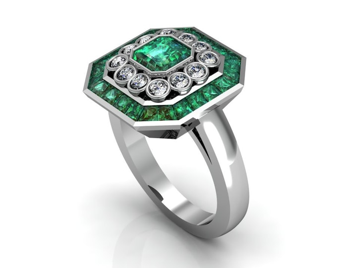 14k White Gold Classic Engagement or Wedding Ring with Emerald and Diamond Item # RFW000-X-279