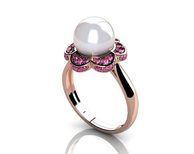 14k Rose Gold Classic Engagement or Wedding Ring with Pink Saffhire and Pearl Item # RFW-000-X-12