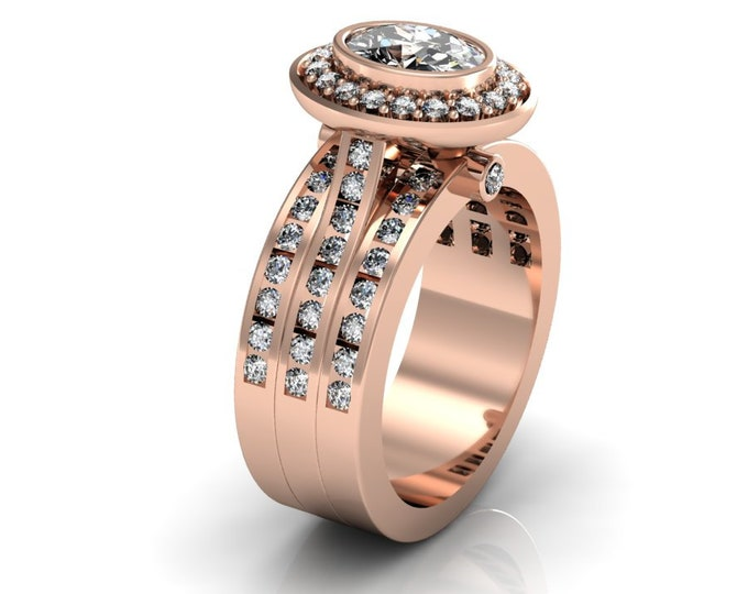 14k Rose Gold Wedding or Engagement Ring with Morganite and Diamond Item # LAFW-000-X-309