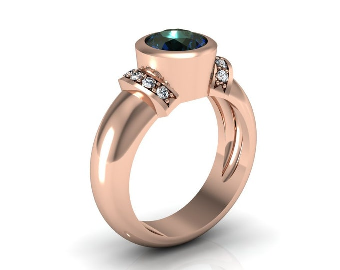 14k Rose Gold Wedding or Engagement Ring with Lab Created Alexsandrite and Diamond Item # LAFW-000-X-341