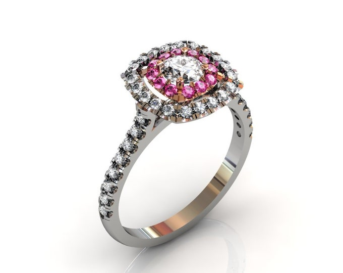 18k Whit and Rose Gold Engagement or Wedding Ring wite Diamond and Pinck Sapphire item # LARFW-000-X-123