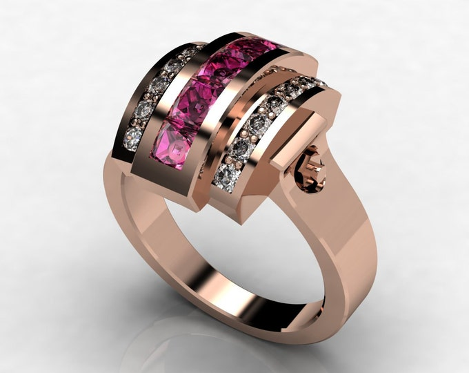 Trojan -14k Rose Gold Classic Engagement or Wedding Ring with Diamond and Pink Sapphire Item # LAWR -00577