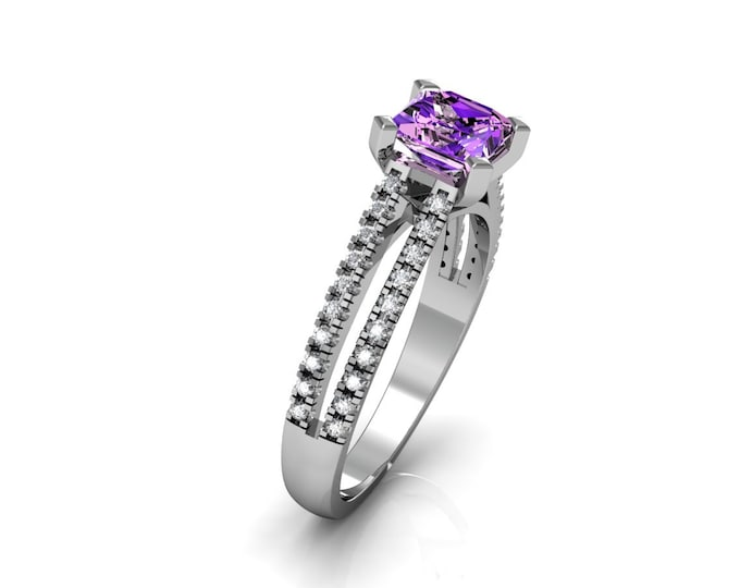 14k White Gold Classic Engagement or Wedding Ring with Diamond and Amethyst Item # LARFW -00747