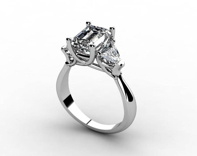 18k White Gold Classic Engagement or Wedding Ring with  Moissanite Item # RFW-000-X-14