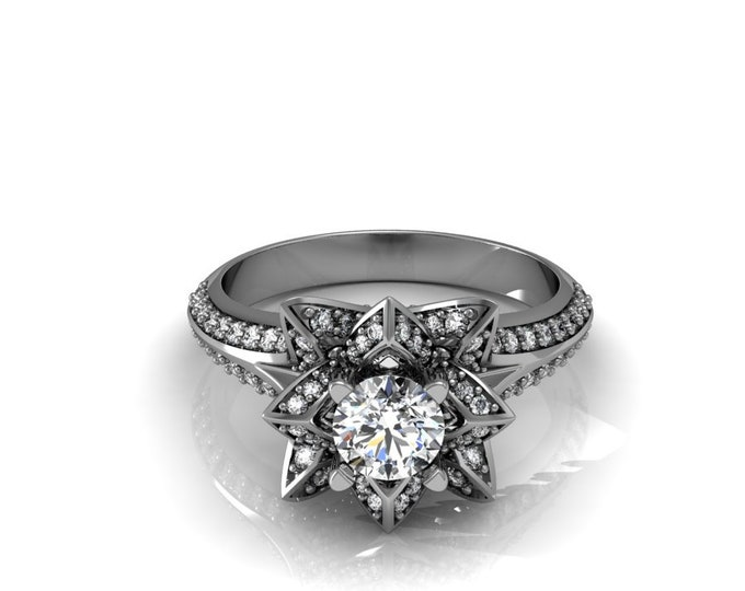 STAR - 18k White Gold Classic Engagement or Wedding Ring with Diamond and moissanite Item # LARFW-000-X-105