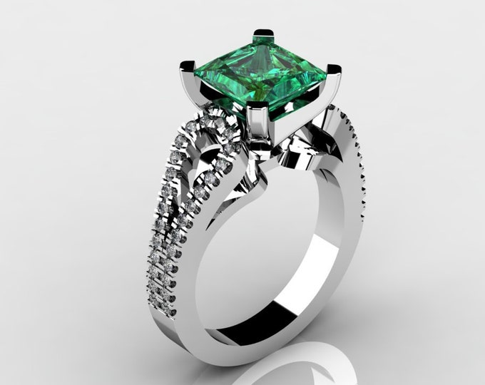 14k White Gold Wedding or Engagement Rind with Diamond and lab created Emerald Item # LAFW-000-X-193