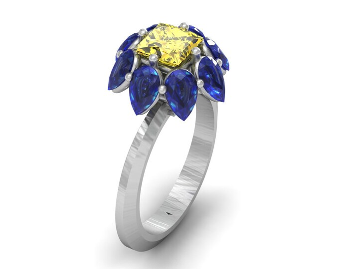 PALM-14k White Gold Classic Engagement or Wedding Ring with Blue Sapphire and Yellow Zirconia Item #; RFW - 00466