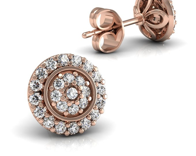 14k Rose Gold -Stud Earrings with Diamond Item # LAEFW -00802