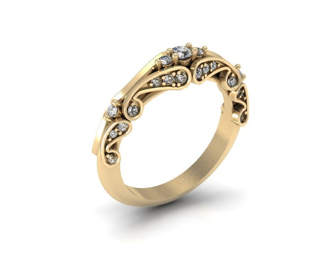 18k Yellow Gold Engagement or Wedding Ring with Diamond Item # LAFW-000-X-132