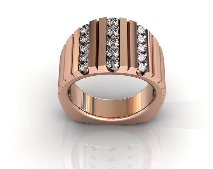 14k Rose Gold Classic Wedding or Engagement Ring with Diamond Item # LAFW-000-X-364