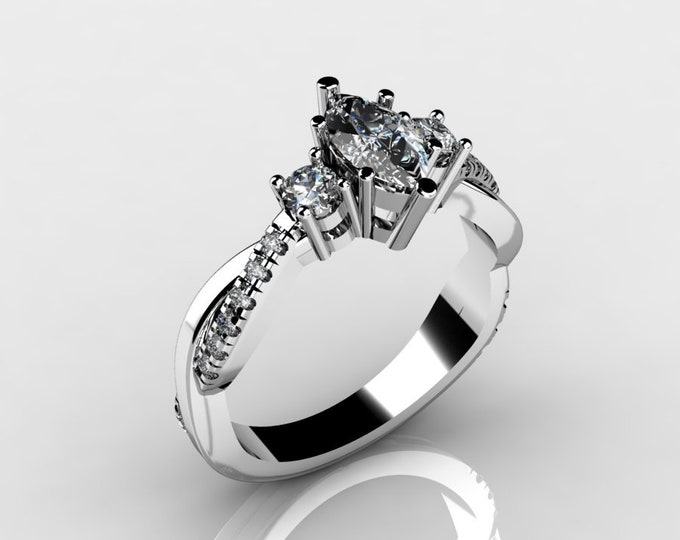 14k White Gold Engagement or Wedding Ring with Diamond and Moissanite Item # LAFW-000-X-146