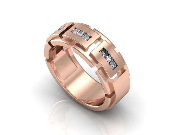 Tough Style 14K  Rose Gold Engagement or Wedding Band for Men with Diamond Item # RFM -0070