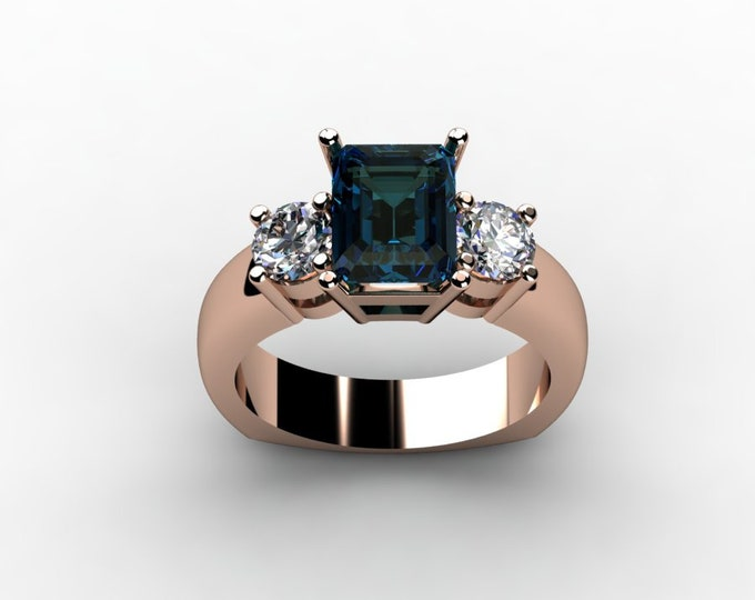 14k Rose Gold Wedding or Engagemnt Ring with Moissanite and Alexsandrite Item # LAFW-000-X-211