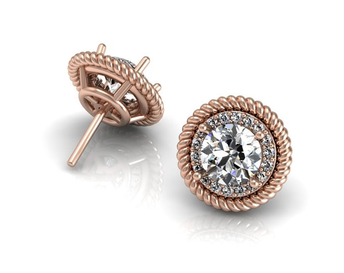 14k Rose Gold Sudy Earrings with Moissanite and Diamond Item # LAFW-000-X-154