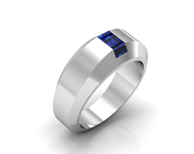 HILL ST. 14K White Gold Classic Engagement or Wedding Ring with Blue Sapphire Item # LARFW 00655