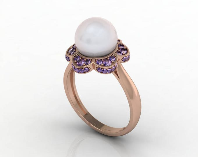 14k Rose Gold Classic Engagement or Wedding Ring with Tanzanite and Pearl Item # RFW-000-X10