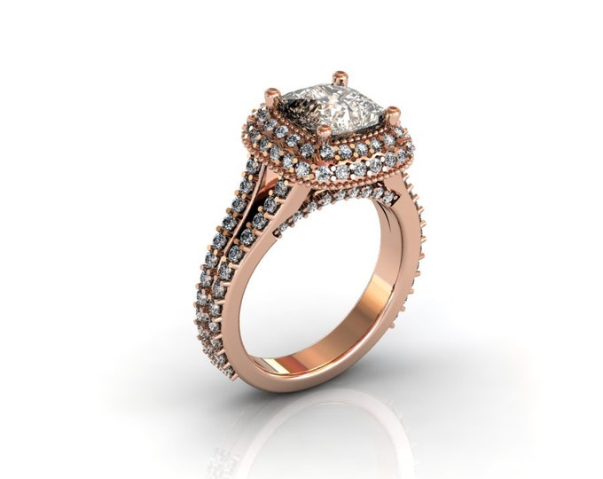 14k Rose Gold Wedding or Engagement Rind with Diamond and Morganite Item # LAFW-000-X-167