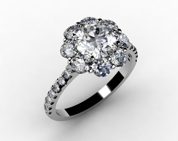 ANTIQUE-18K White Gold Wedding or Engagement Ring with  Diamond and Moissanite Item # LAFW-000-X-126