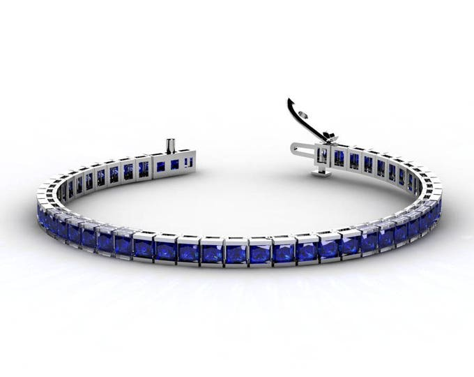 14k White Gold Tennis Bracelets with Blue Sapphire Item # BFW-000-X-64
