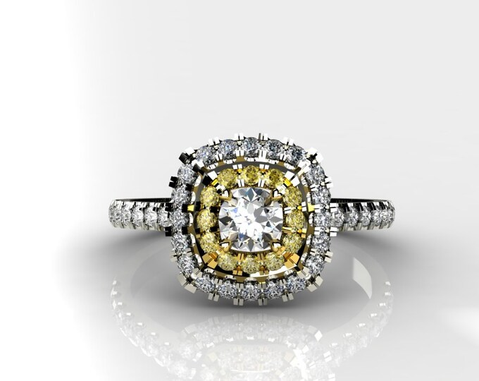 18k White and Yellow Gold Engagement or Wedding Ring wite Diamond and Yellow Sapphire item # LARFW-000-X-122