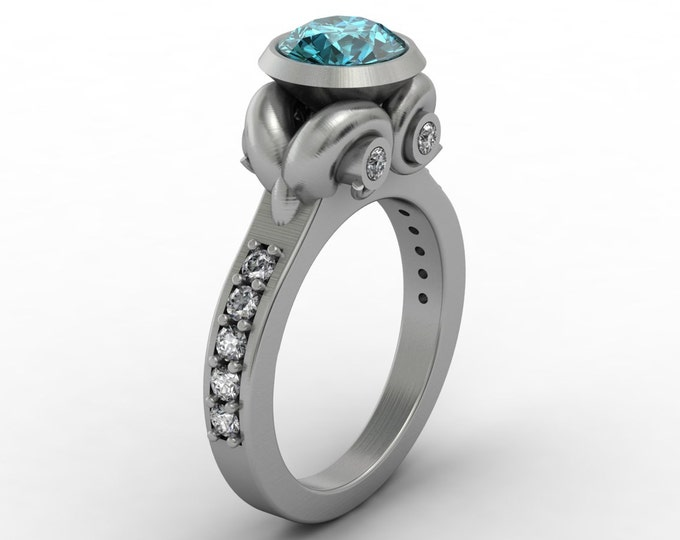 UNIQUE-14k White Gold Classic Engagement or Wedding Ring with Diamond and Blue Topaz Item #;RFW -00297