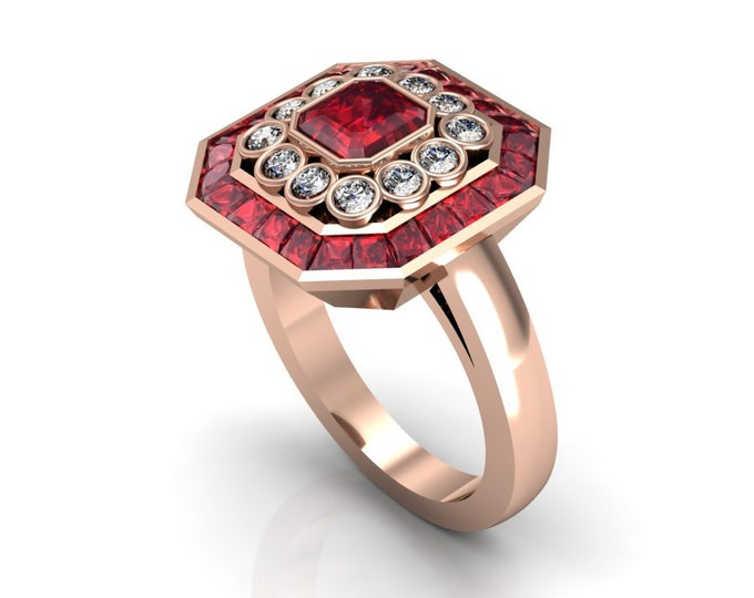 14k Rose Gold Classic Engagement or Wedding Ring with Ruby and Diamond Item # RFW000-X-278