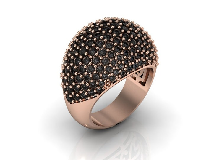 BALLON-14K Rose Gold Wedding or Engagement Ring with Black Diamond Item # LAFW-000-X-192