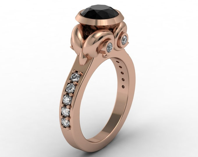 UNIQUE-14k Rose Gold Classic Engagement or Wedding Ring with Diamond and Black Diamond Item #;RFW -00292