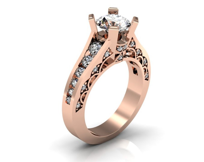 14k Rose Gold Classic Engagement or Wedding Ring with Diamond and Moissanite Item # RFW000-X-303