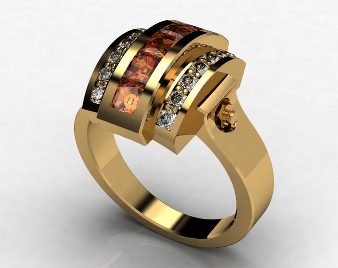 Trojan -14k Yellow Gold Classic Engagement or Wedding Ring with Diamond and Citrine Item # LAWR -00575