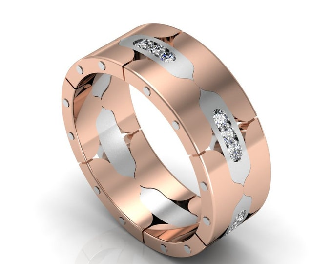 14k Rose and White Gold Classic Engagement or Wedding Band with Diamond Item # LARFW-00846