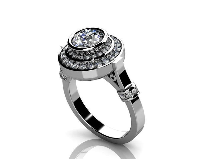 14k White Gold Classic Engagement or Wedding Ring with Diamond and Moissanite Item # RFW-000-X-19