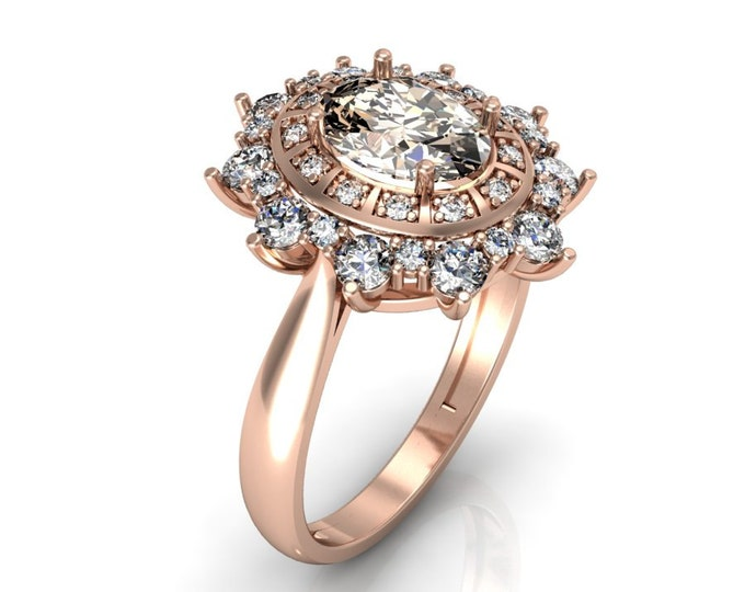 14k Rose Gold Classic Engagement or Wedding Ring with Diamond and Morganite Item # LARFW -00754