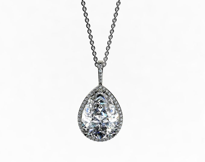 14k White Gold Pendant with 18-inch White Gold Chain,Cubic Zirconia and Diamond Item # LAFW-000-X-234