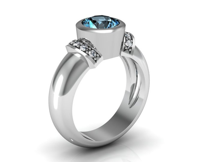 14k White Gold Wedding or Engagement Ring with Blue Topaz and Diamond Item # LAFW-000-X-342