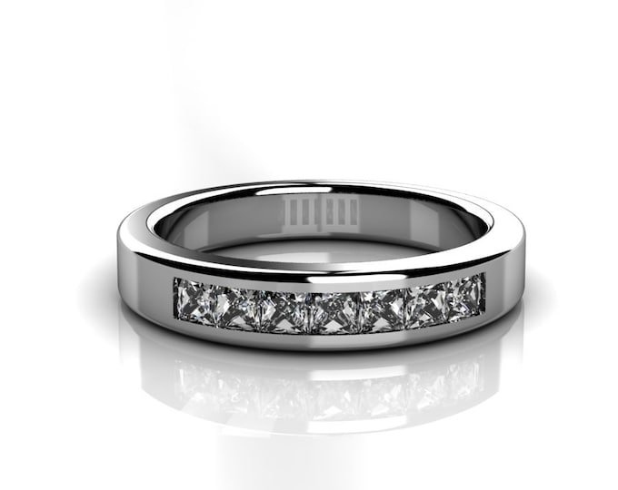 14k White Gold Wedding or Engagement Band with Diamond Item # LAFW-000-X-335