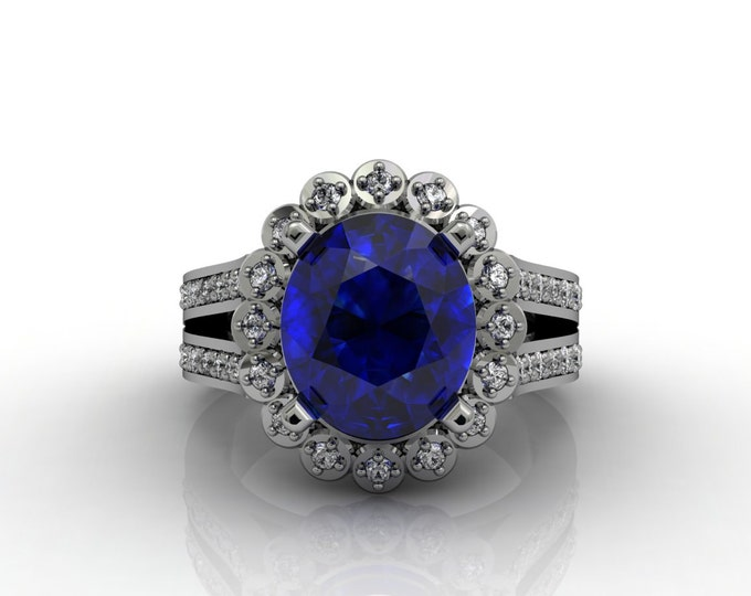 London 14k White Gold Classic Engagement or Wedding Ring with Diamond and Blue Sapphire Item # LARFW -00635