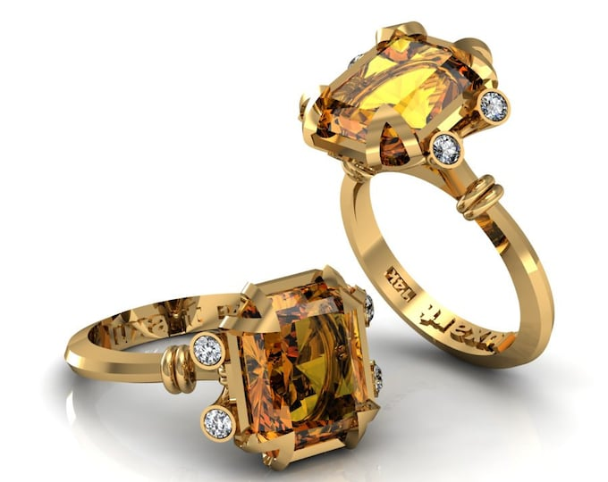 MIRAGE- 18K Yellow Gold Classic Engagement or Wedding Ring with Diamond and Yellow Citrine Item: RFW -00263