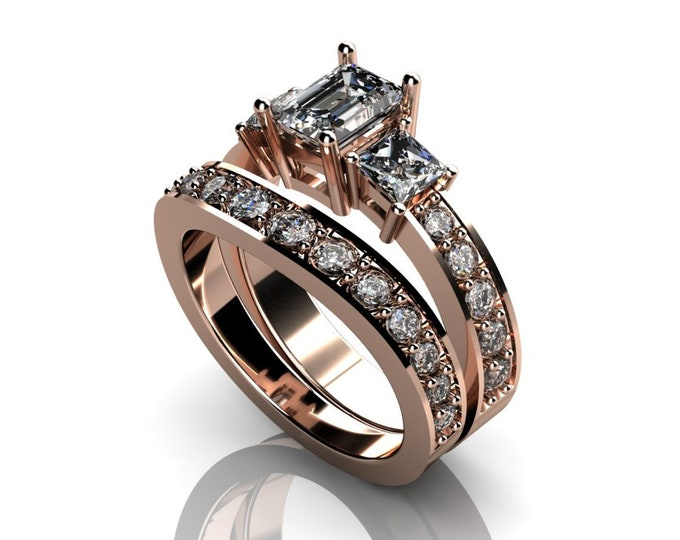 14k Rose Gold Classic Engagement or Wedding Ring with  Diamond and Moissanite Item # RFW000-X-269