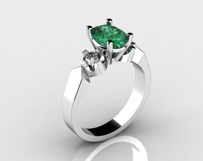 14k White Gold Wedding Ring with Diamond and Emerald Item # LAFW-000-X-186