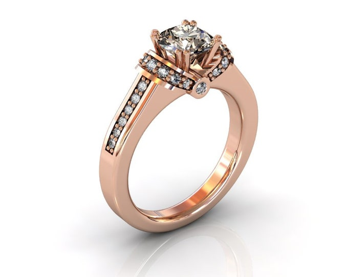 14k Rose Gold Wedding or Engagement Rind with Diamond and Morganite Item # LAFW-000-X-197