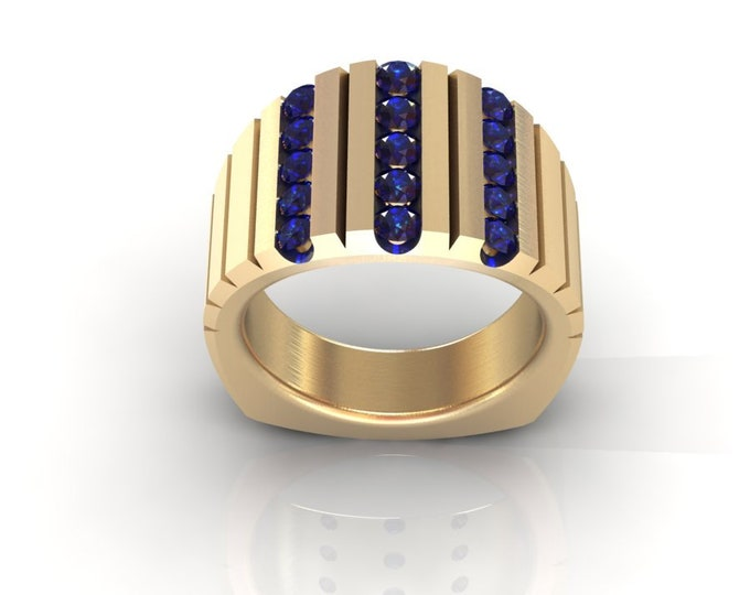 14k Yellow Gold Classic Wedding or Engagement Ring with Blue Sapphire Item # LAFW-000-X-365