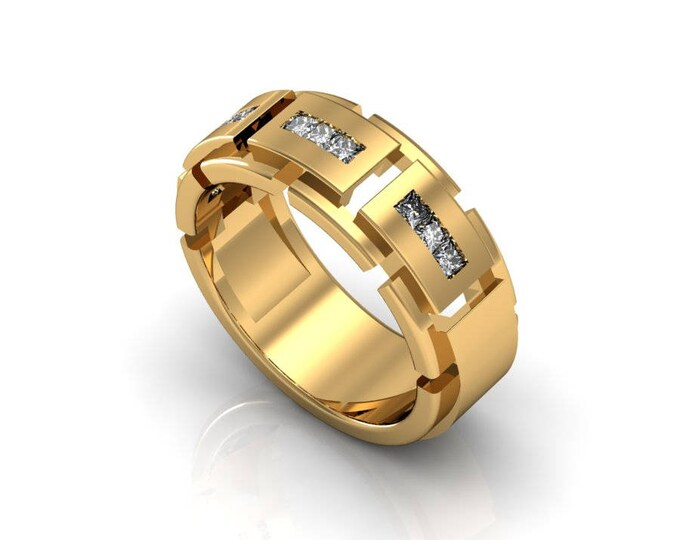 Tough Style 14K  Yellow Gold Engagement or Wedding Band for Men with Diamond Item # RFM -0071