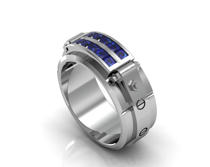 Al Capone - 14k White Gold Classic Engagement or Wedding Band with Blue Sapphire stones (Item#: LAMR-00593)