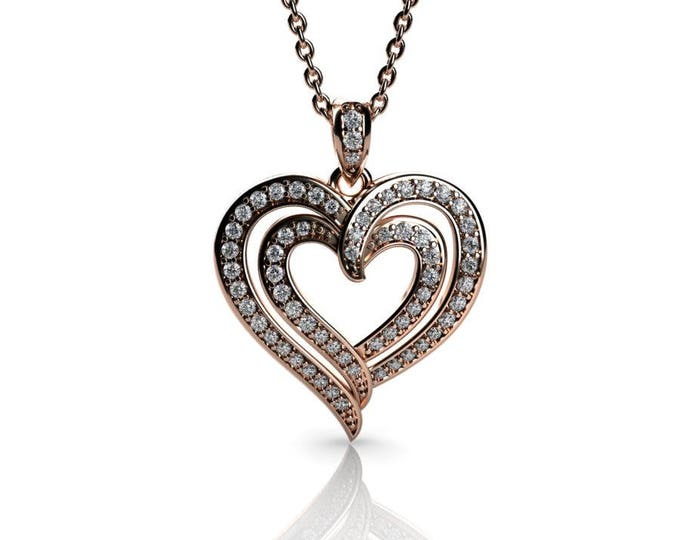 14k Rose Gold Heart Pendants with 18 In Chain,and Diamond Item # PFW-000-X-86