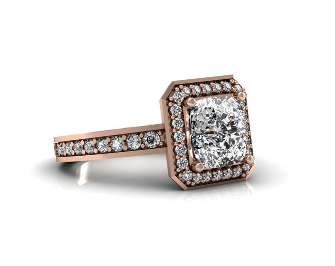 14k Rose Gold Wedding or Engagement Ring with Moissanite and Diamond Item # LAFW-000-X-331
