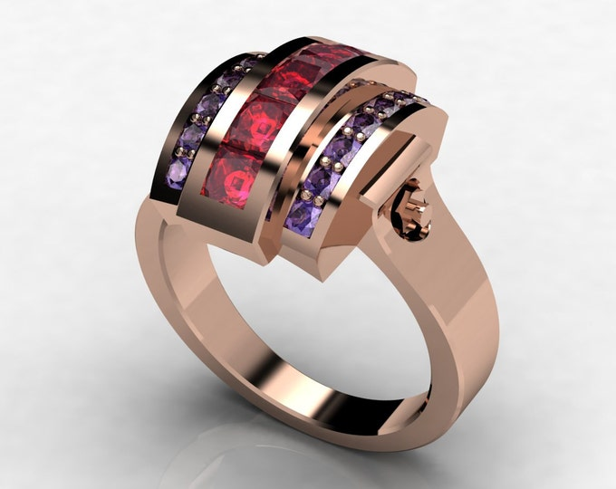 Trojan -14k Rose Gold Classic Engagement or Wedding Ring with Ruby and Tanzanite Item # -LAWR -00579