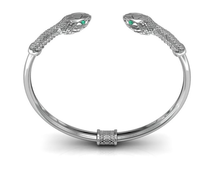 SNAKE-14K White Gold with Emerald  Bangles Bracelets Item # BFW-000-X-387